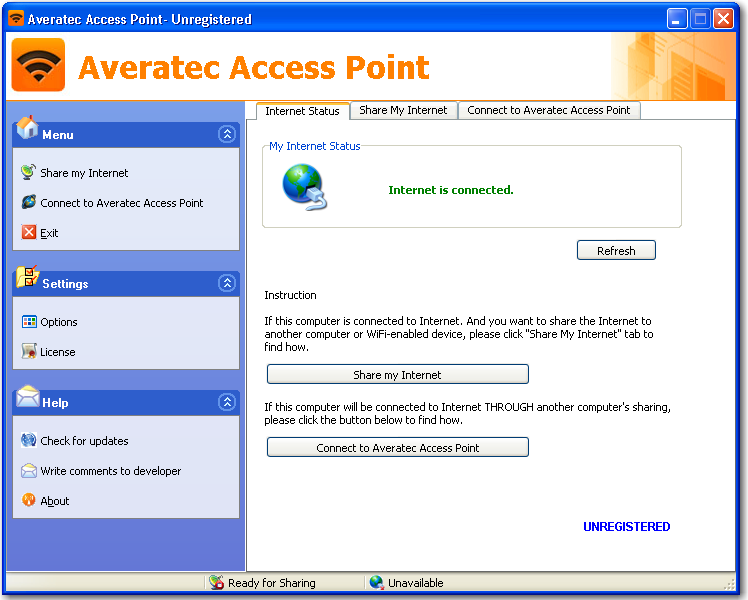 Main window of Averatec Access Point